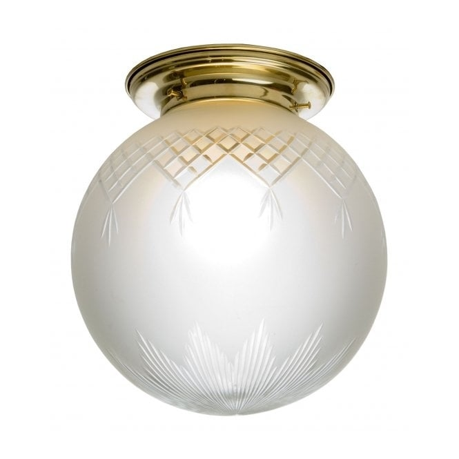 Belvedere Collection PINESTAR traditional flush fitting glass globe ceiling light (small)