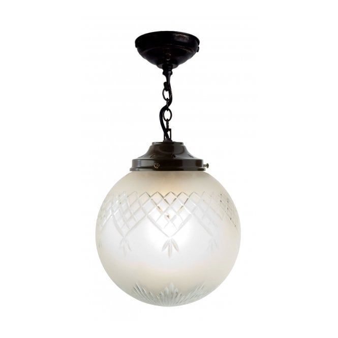 Belvedere Collection PINESTAR traditional globe pendant with etched cut glass shade (medium)