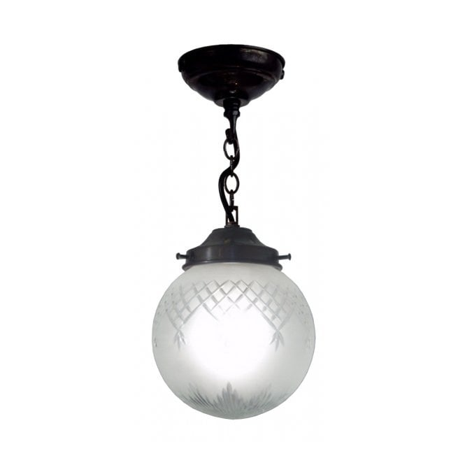 Belvedere Collection PINESTAR traditional globe pendant with etched cut glass shade (small)