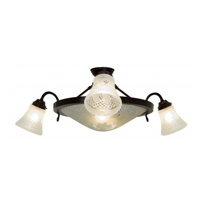 Belvedere Collection PINESTAR traditional semi-flush ceiling light with cut glass shades