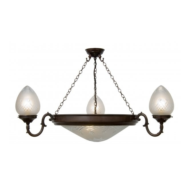 Belvedere Collection PINESTAR traditional uplighter ceiling pendant light with cut glass shades