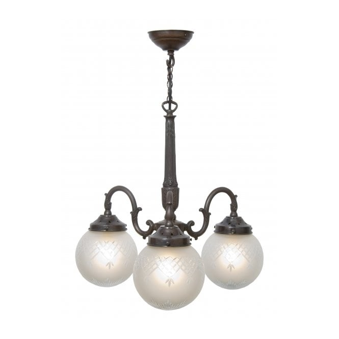 Belvedere Collection PINESTAR Victorian or Edwardian ceiling light with cut glass globe shades