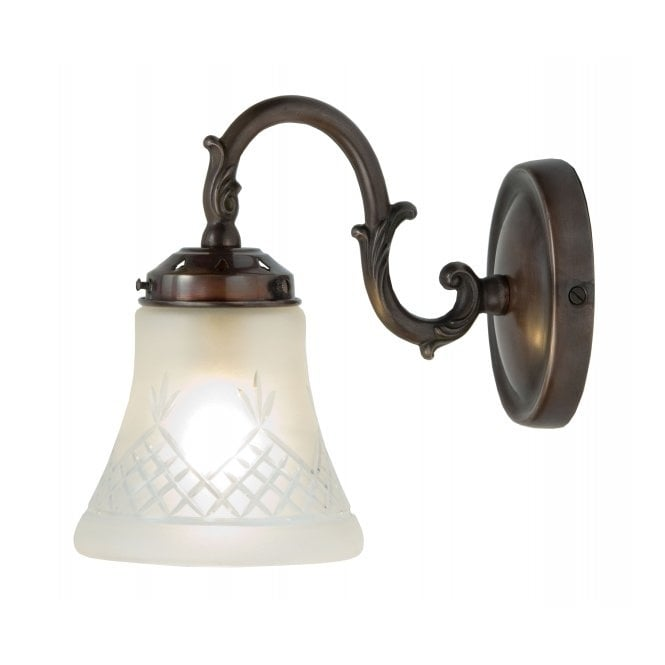 Belvedere Collection PINESTAR wall light in antique finish with cut glass shade