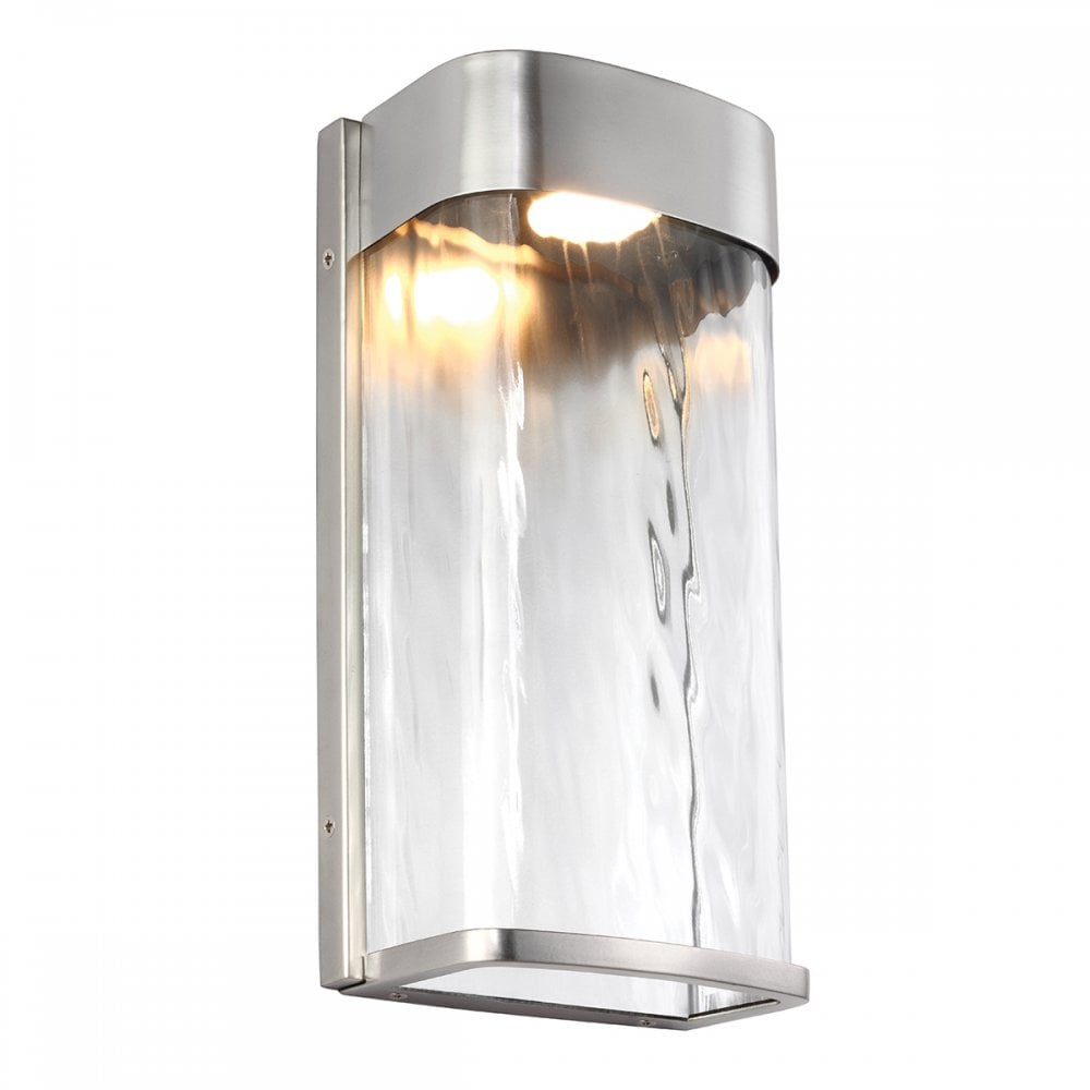 Bennie large led contemporary outdoor wall light in brushed steel
