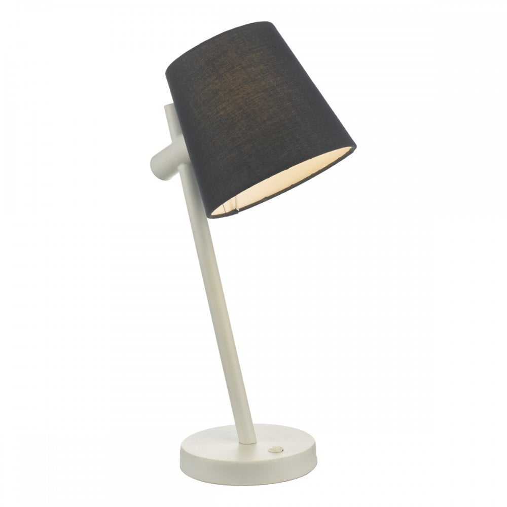 Beula White Desk Lamp With Navy Blue Shade