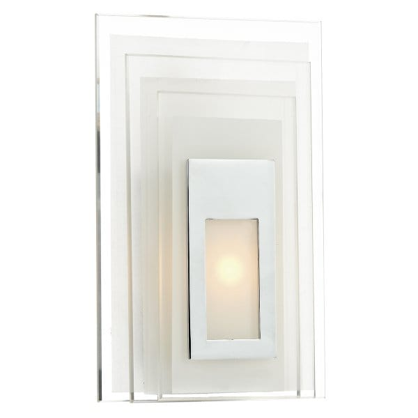 Led Wall Panel Light In Frosted Glass And Chrome With Pull