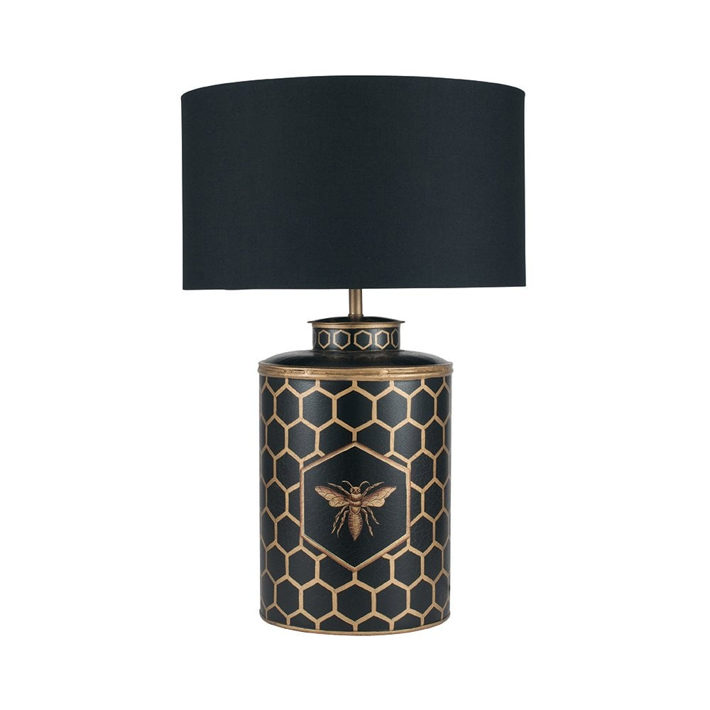 Black Honeycomb Hand Painted Table Lamp Base Oriental Style