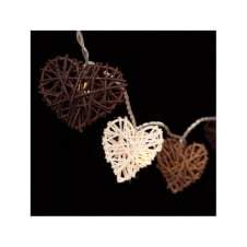 LIGHT STRING chocolate tone wicker heart shapes (20 lights)