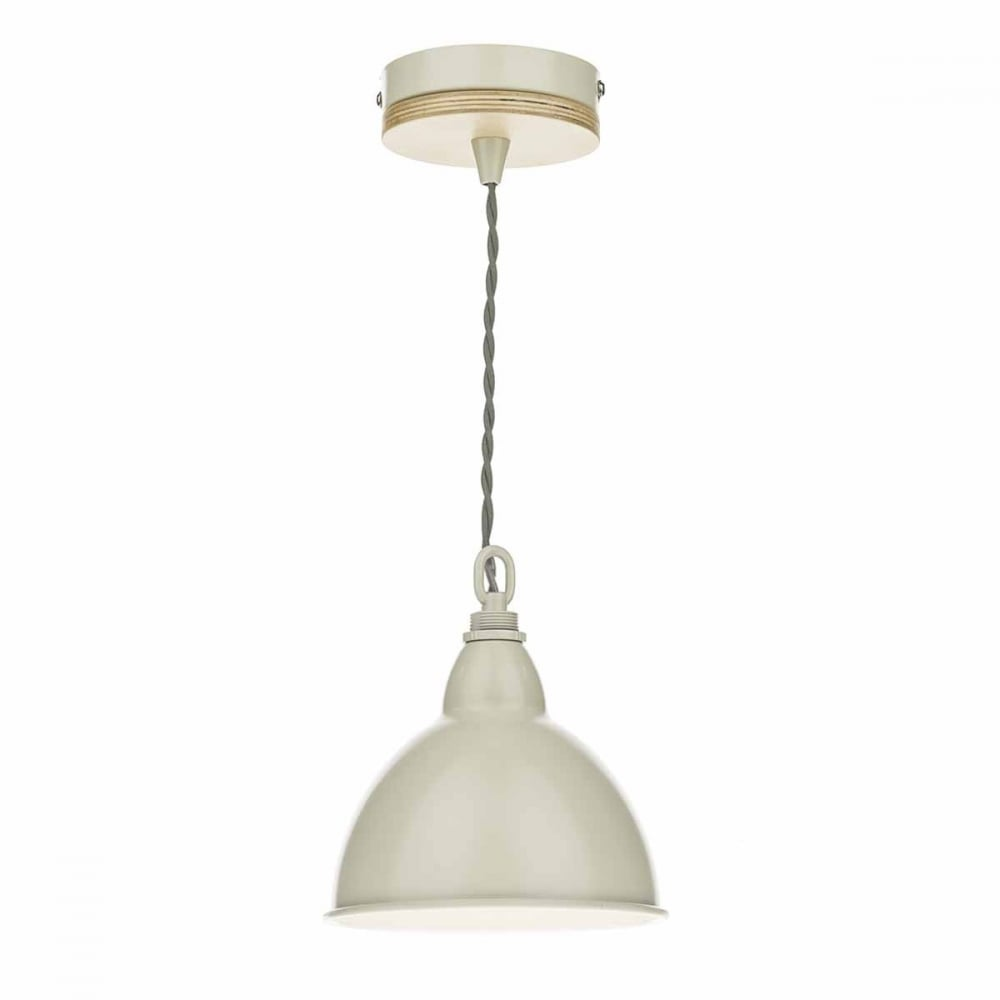 Single wooden cream finished metal ceiling pendant class 2