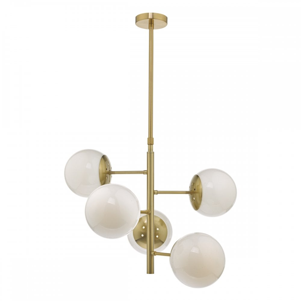 Mid Century Natural Brass And Opal Glass 5 Light Pendant