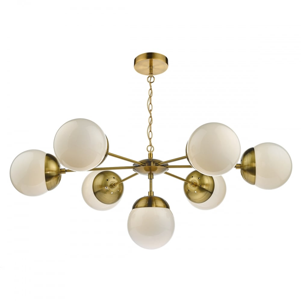 best service aa17c 44a11 BOMBAZINE 7 light antique brass pendant with glass globe shades