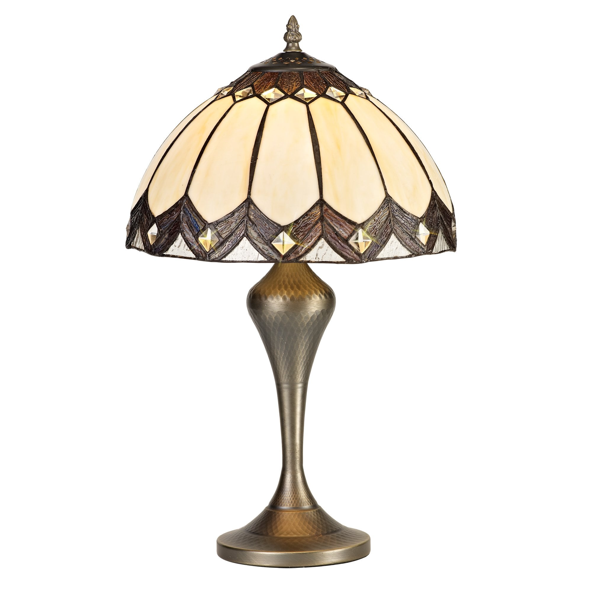 Picture of: Brown And Cream Tiffany Style Glass Table Lamp With Brass Finish Base