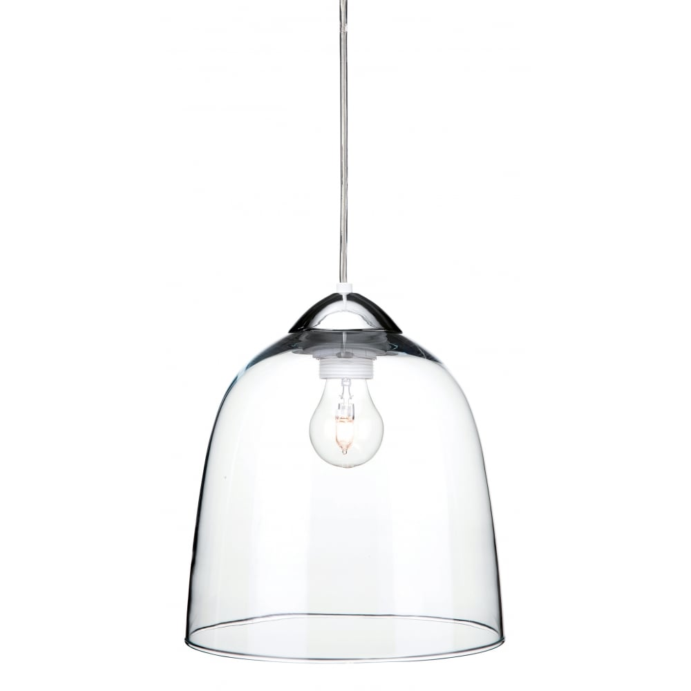 Contemporary Clear Glass Ceiling Pendant / Chrome Cap and ...