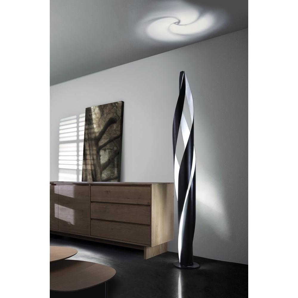 Decorative Modern Spiral Floor Lamp In Matte Black