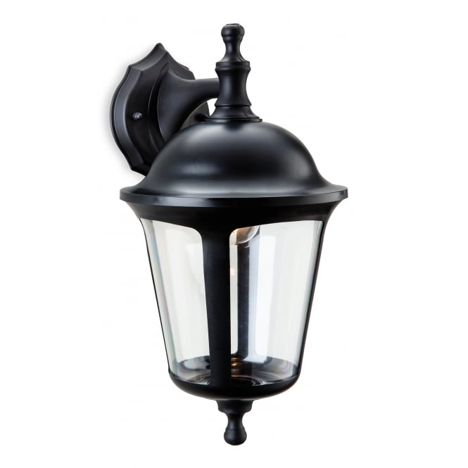 BOSTON Polycarbonate outdoor wall lantern in black (downward)