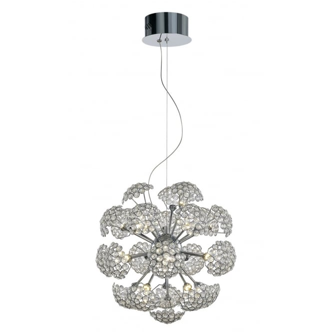 BOUQUET 23 light LED chrome and crystal floral design ceiling pendant