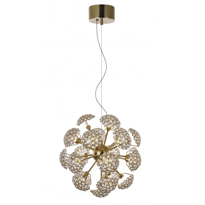 BOUQUET 23 light LED gold and crystal floral design ceiling pendant