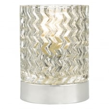 chrome and textured glass touch lamp
