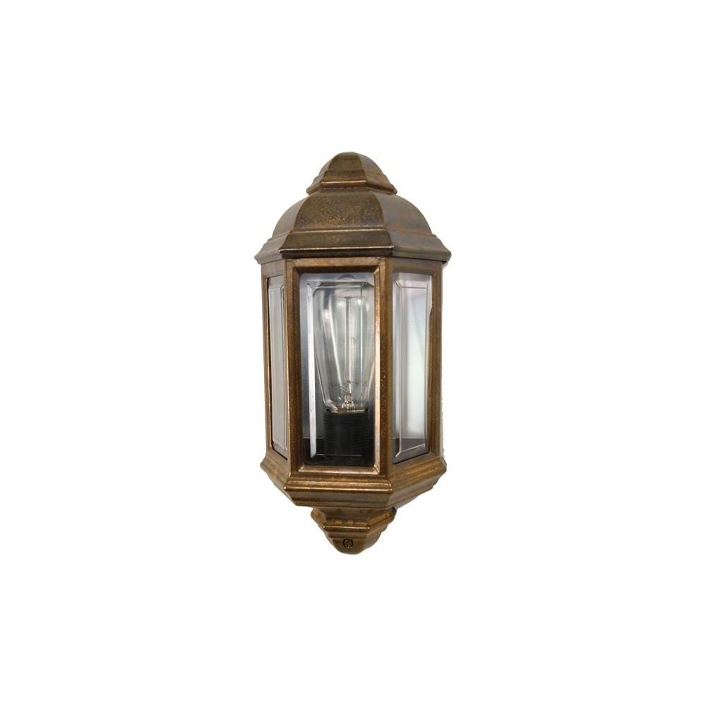 Brent Traditional Exterior Wall Lantern In Antique Brass
