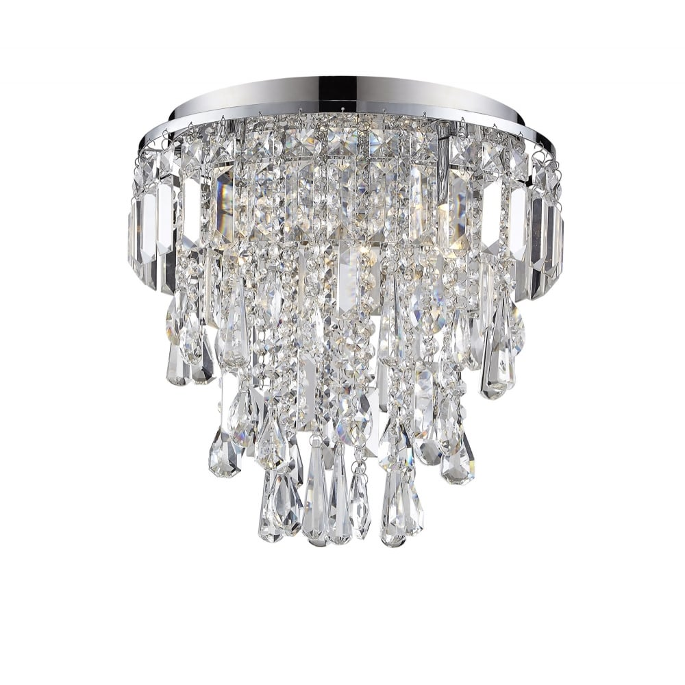 Chrome and crystal flush bathroom chandelier lighting company flush fit bathroom chandelier in chrome and crystal aloadofball Gallery