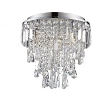 flush fit bathroom chandelier in chrome and crystal