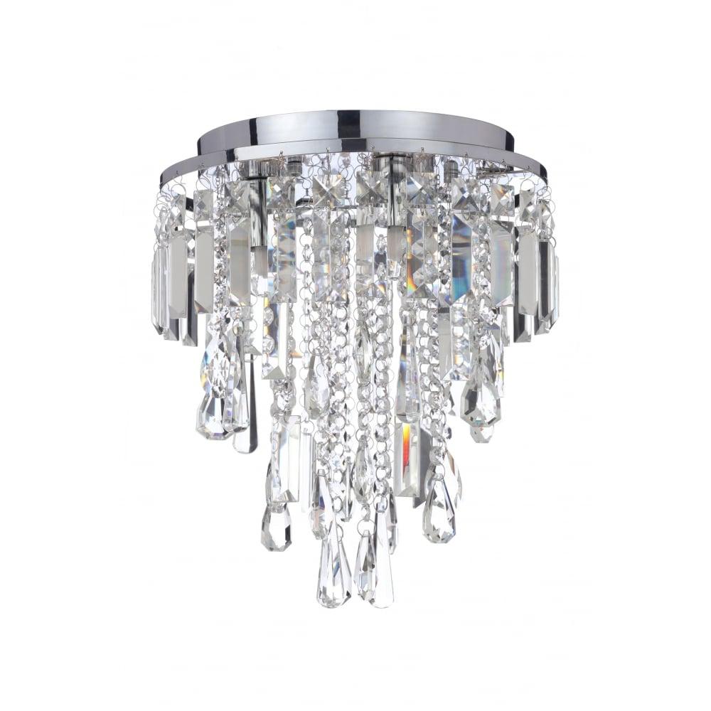 Chrome and crystal 3lt flush bathroom chandelier lighting company flush fit bathroom chandelier in chrome and crystal aloadofball Gallery