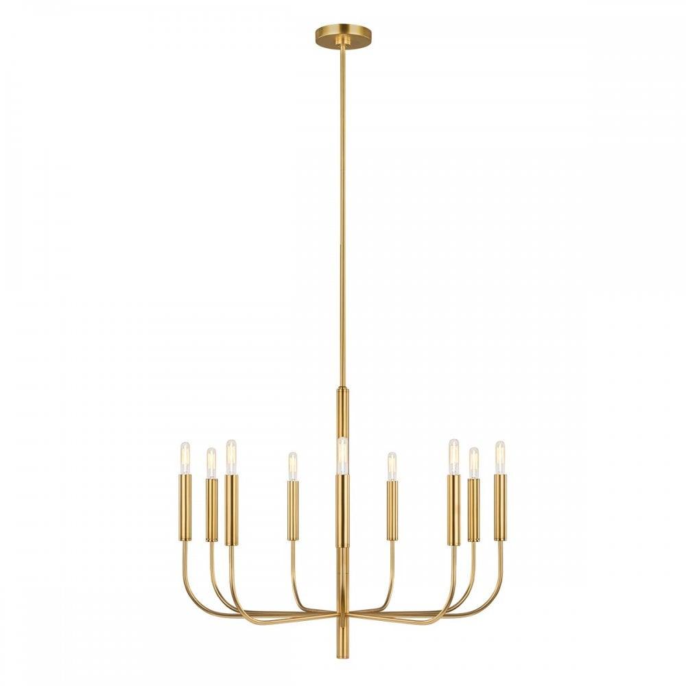9 Light Burnished Brass Modern Chandelier Ceiling Light