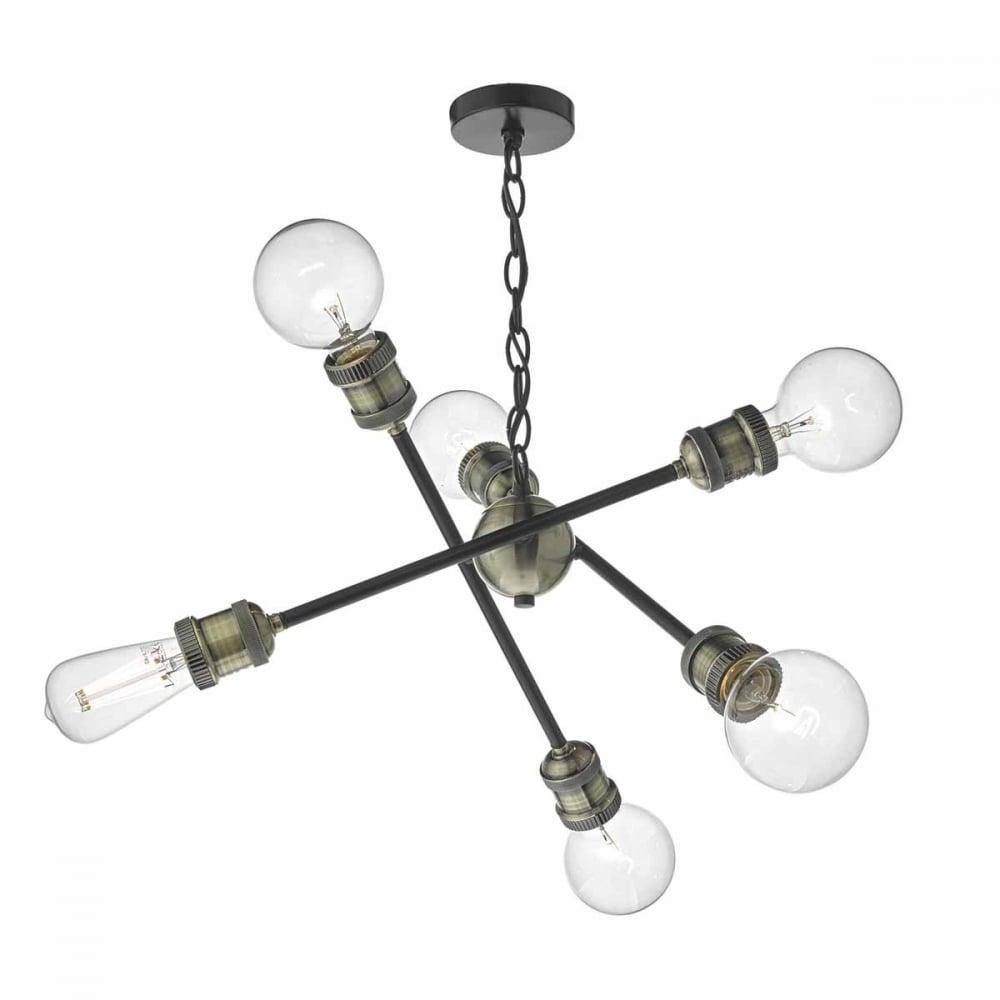 Smartwares Industrial Es Pendant Light Black Bronze: Industrial Sputnik Style Pendant In Antique Brass Finish