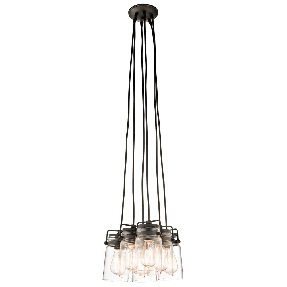 vintage 6lt glass jar ceiling pendant cluster with bronze suspensions. Black Bedroom Furniture Sets. Home Design Ideas