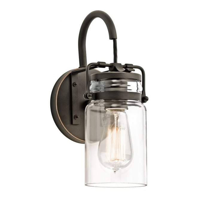 BRINLEY vintage glass jar wall light with bronze fitting