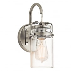 vintage design wall light in nickel with glass jar shade
