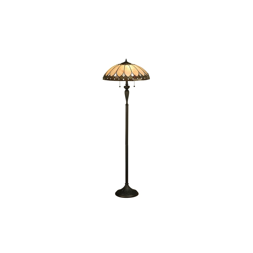 Tiffany Art Deco Style Floor Lamp With Bronze Effect Base