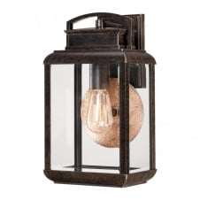 vintage exterior wall lantern in dark bronze with clear glass panels