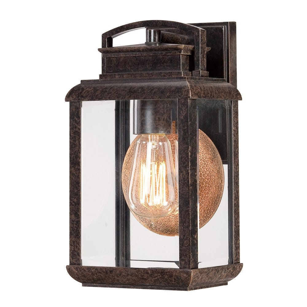 Small Vintage Design Exterior Wall Lantern In Bronze With Clear Glass