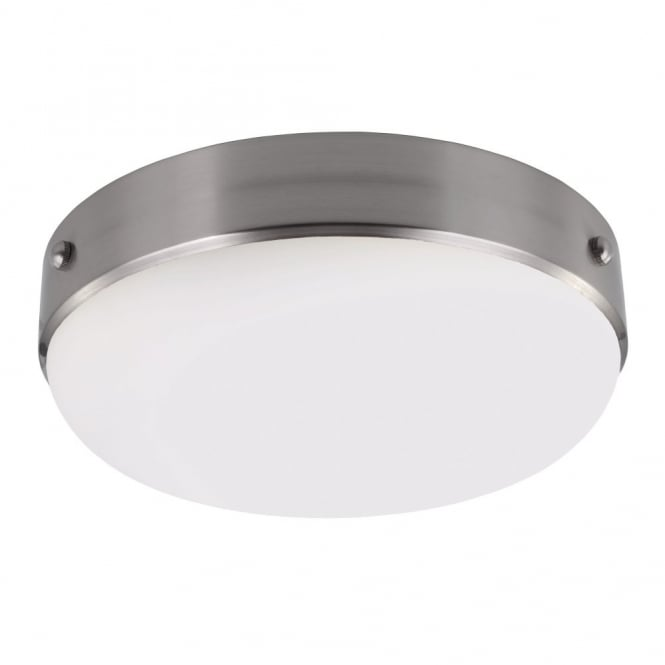 Industrial flush fit ceiling light in brushed steel with opal glass diffuser