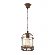 CAGE rustic ceiling pendant light in patina brown finish