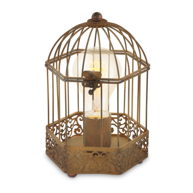 CAGE traditional design rust coloured table lamp
