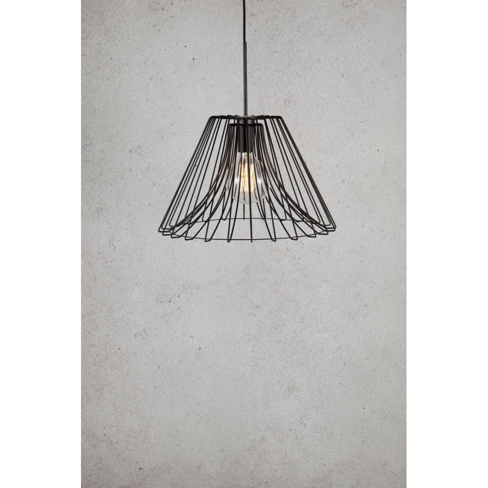 Matt Black Wire Frame Ceiling Pendant Light Wiring A Lamp Uk Matte