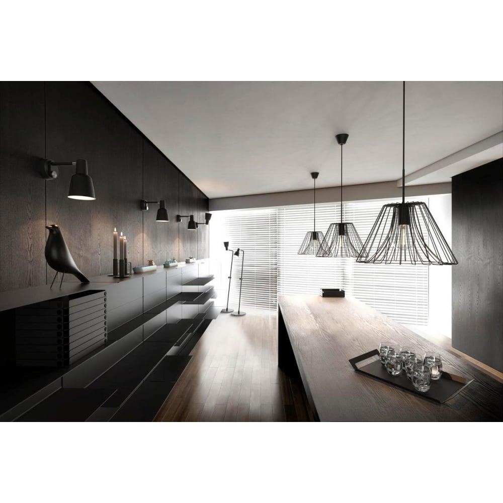 Matt Black Wire Frame Ceiling Pendant Light