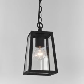 Homefield black box lantern ceiling pendant with glass panels large black box lantern ceiling pendant with clear glass mozeypictures Images