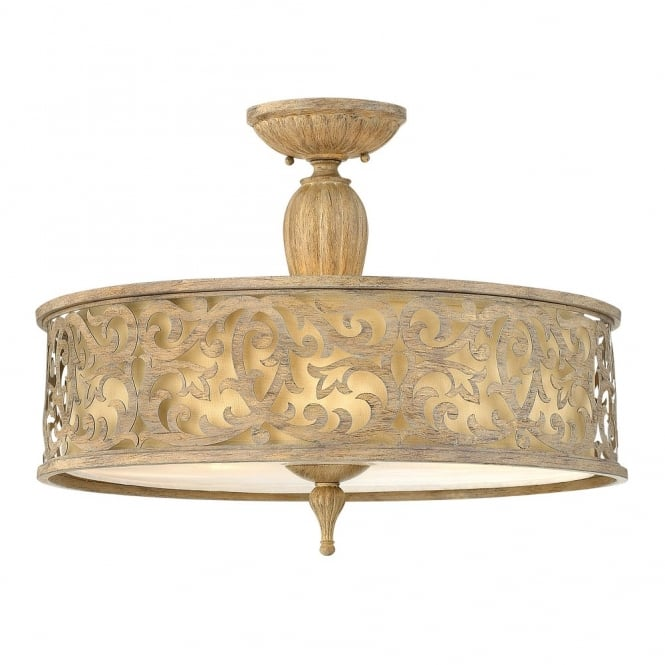 Decorative large filigree brushed gold semi flush ceiling light decorative filigree brushed gold semi flush ceiling light with inner shade aloadofball Images