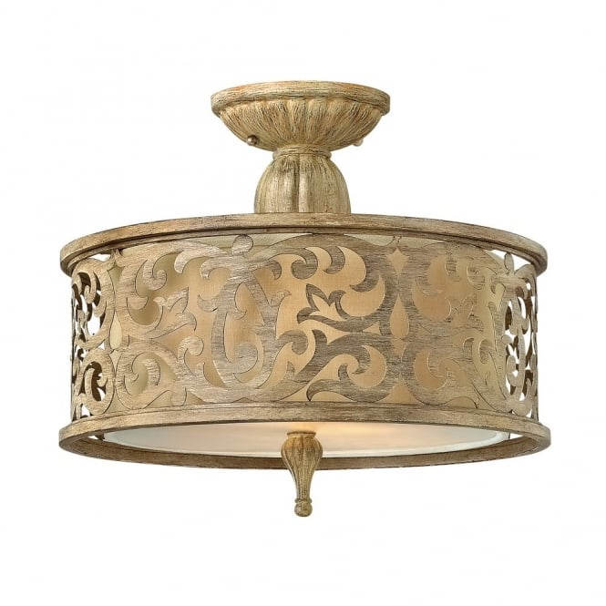 Carabel Filigree Brushed Gold Small Semi Flush Ceiling Light With Inner Ivory Shade