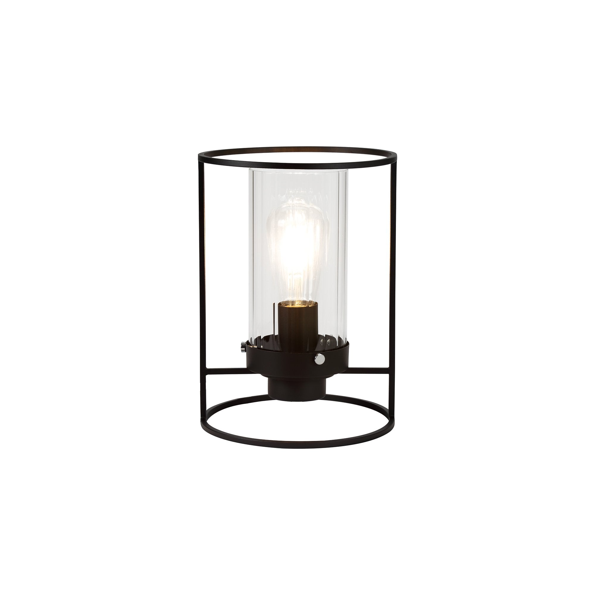 Picture of: Table Lamp Black Ribbed Clear Glass Cylinder Shade Lighting Company Uk