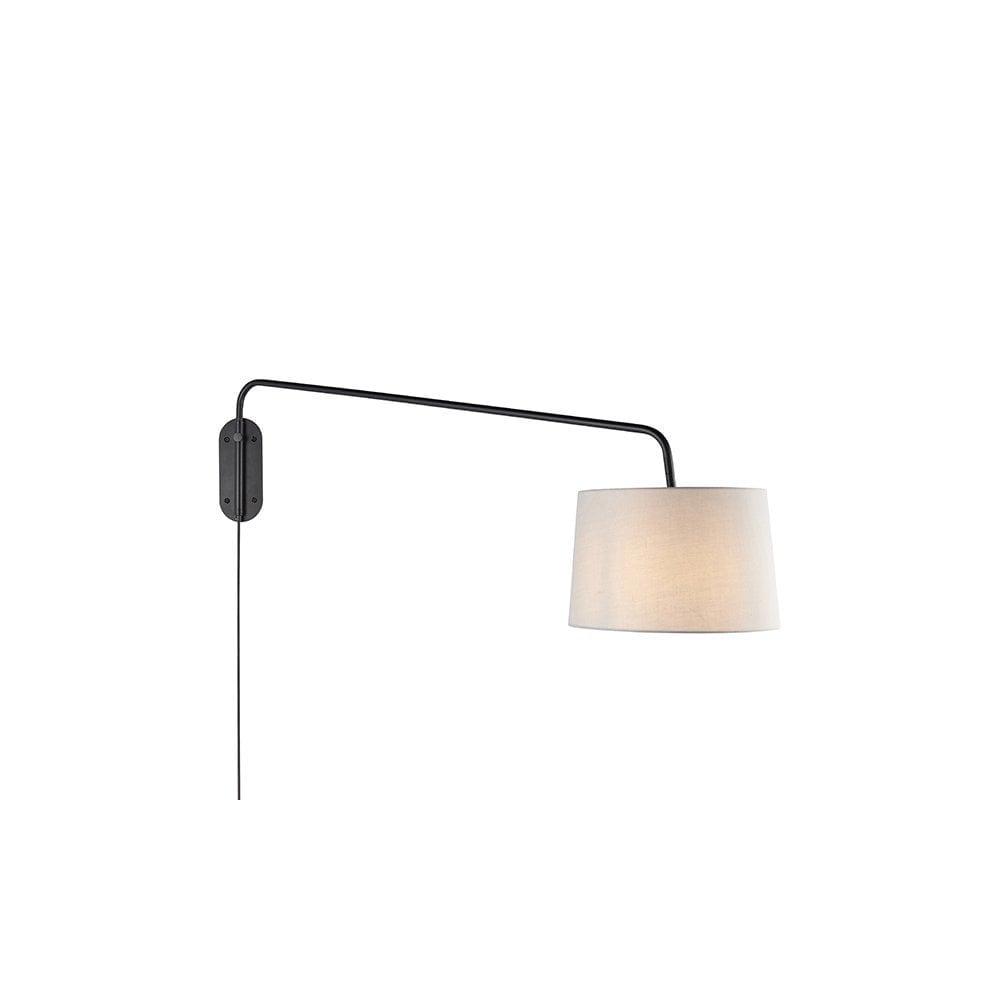 Large Plug In Wall Light Modern Adjustable Swing Arm Grey Shade