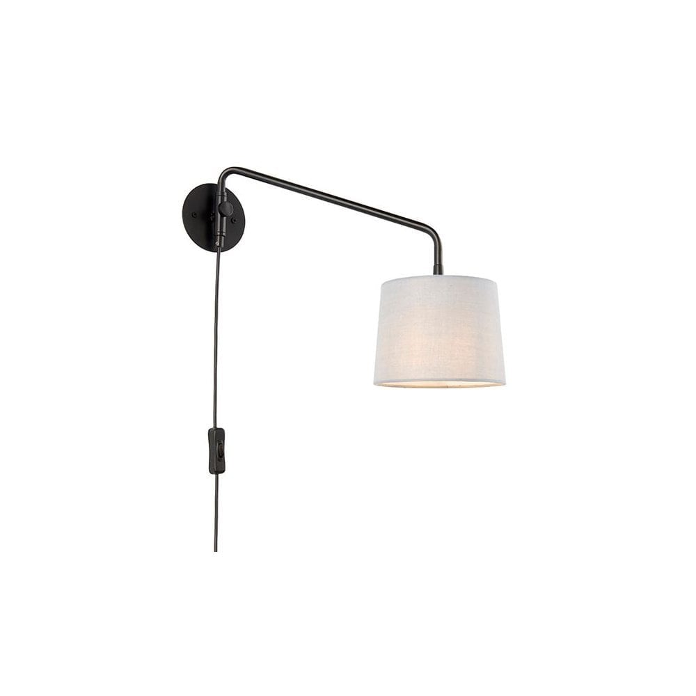 Swing Plug In Wall Light Modern Adjustable Swing Arm Grey Shade
