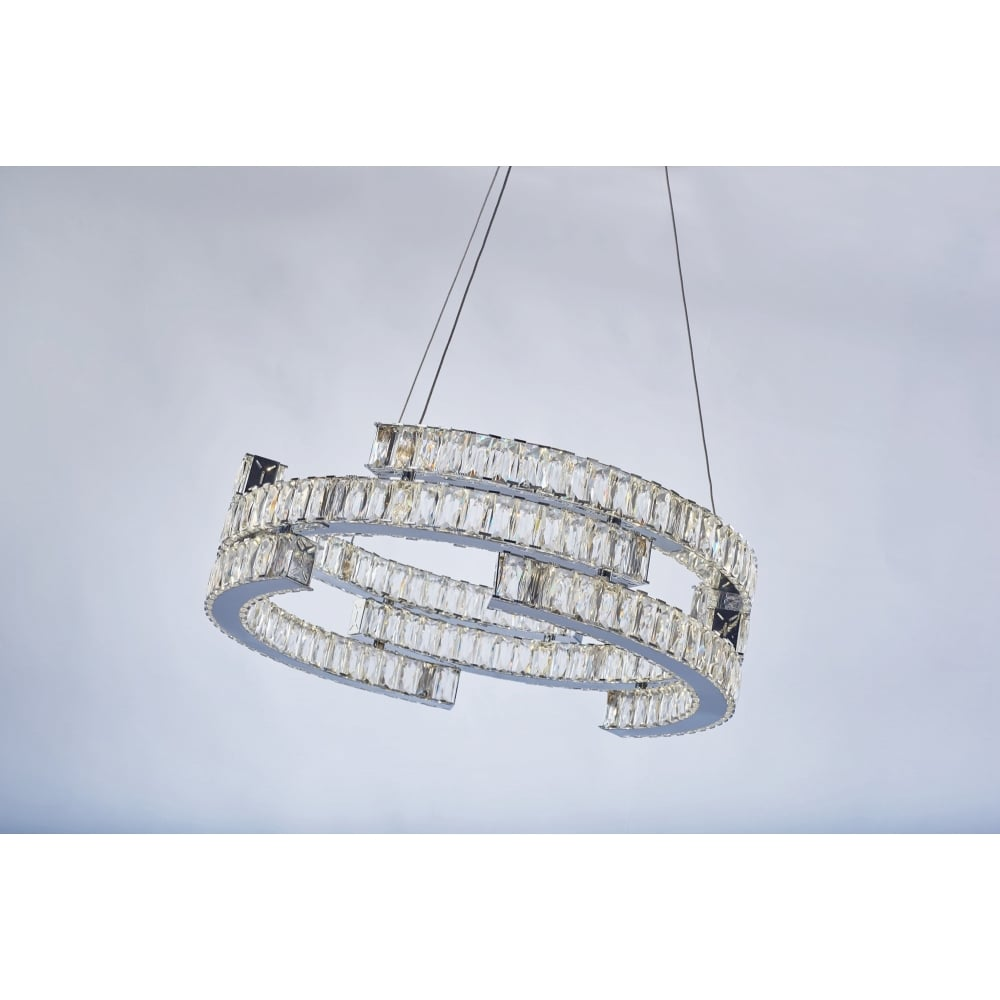 decorative LED chrome and crystal 3 tier ceiling pendant  sc 1 st  The Lighting Company & Modern Chrome and Crystal LED 3 Tier Ceiling Pendant| Lighting Company