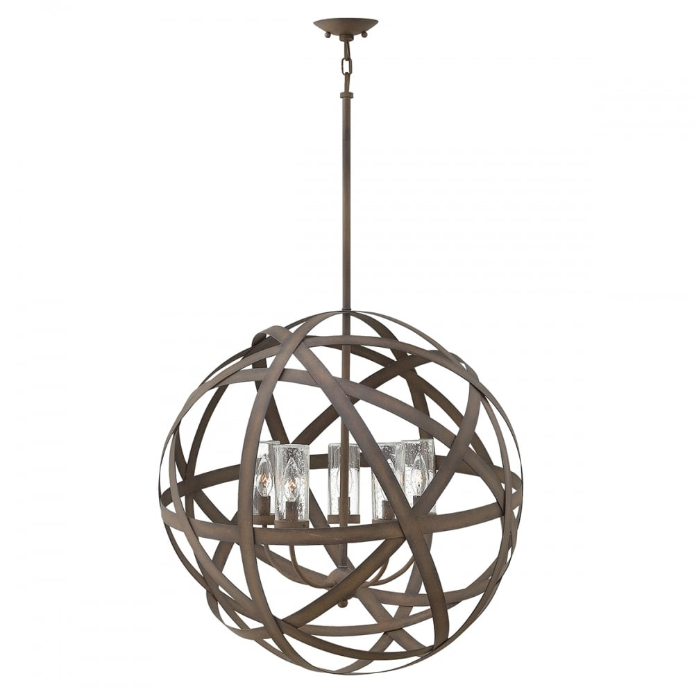 Carson 5 light exterior chandelier in vintage iron with seeded glass shades