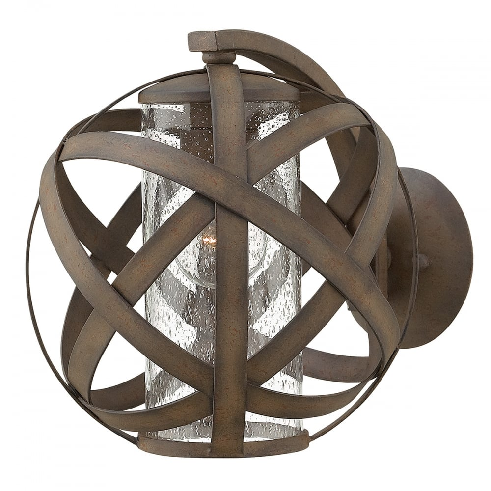 Vintage Iron Exterior Globe Wall Lantern With Seeded Glass
