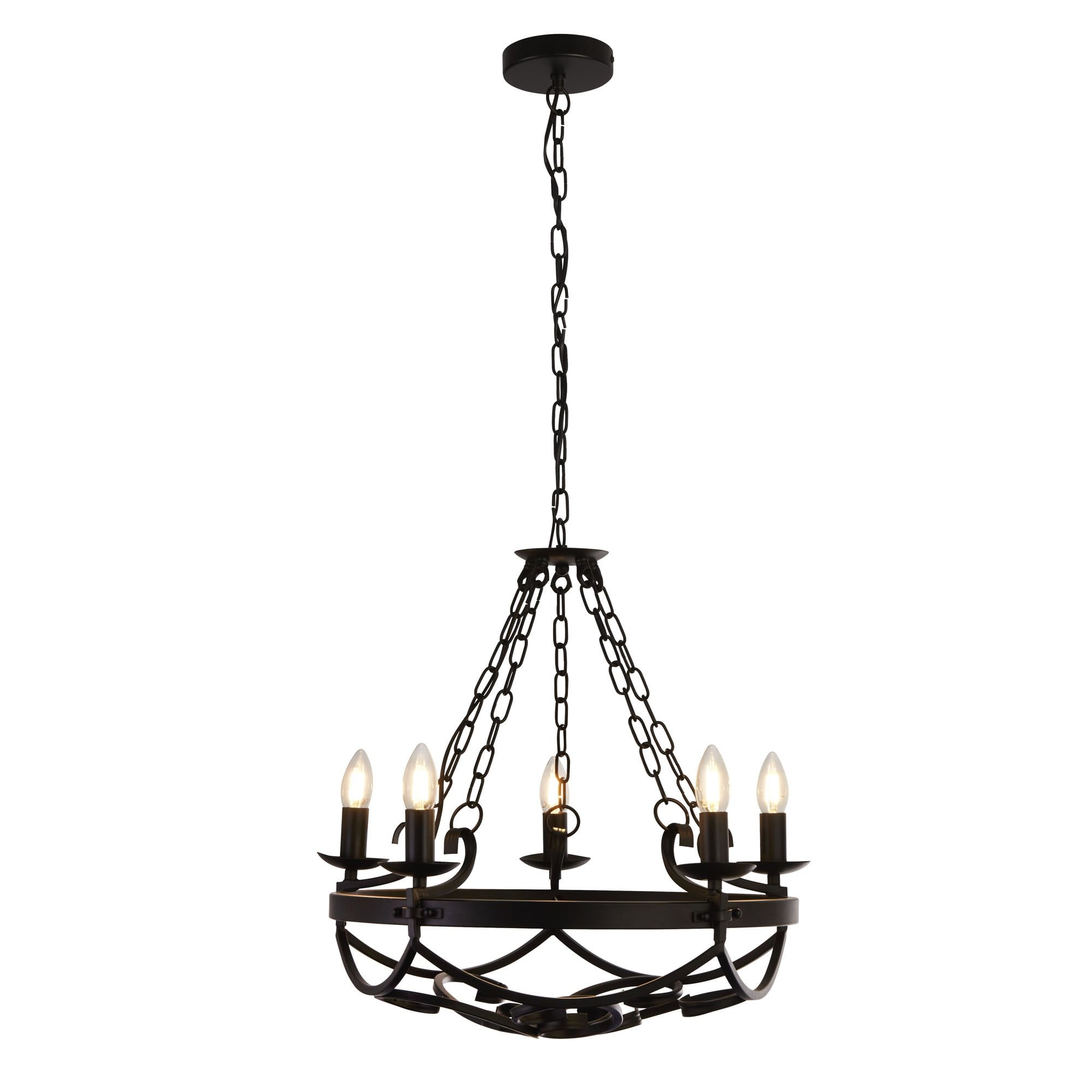 5 Light Wrought Iron Chandelier Medieval And Gothic Ceiling Pendant