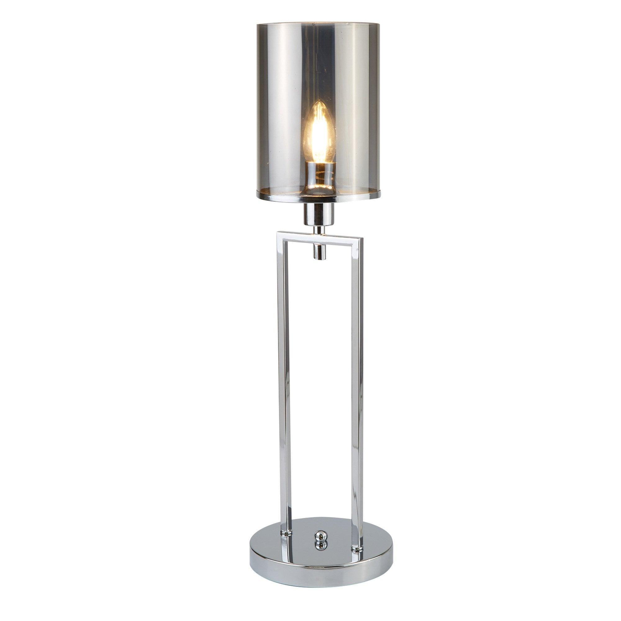 Catalina Single Table Lamp Chrome Smoked Glass Shades Lighting Company